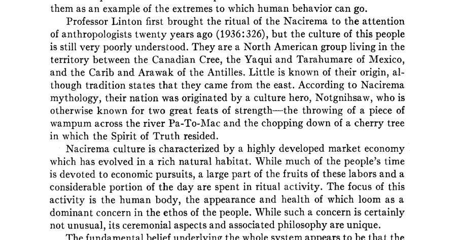 "sociological perspective on body rituals of the nacirema by horace miner In the article, ""body ritual among the nacirema,"" author horace miner talks in detail about the culture of a north american clan, the nacirema horace miner seems to be particularly interested in the magical beliefs, practices, and rituals of the nacirema clan the ""body ritual among the nacirema"" article shows many."