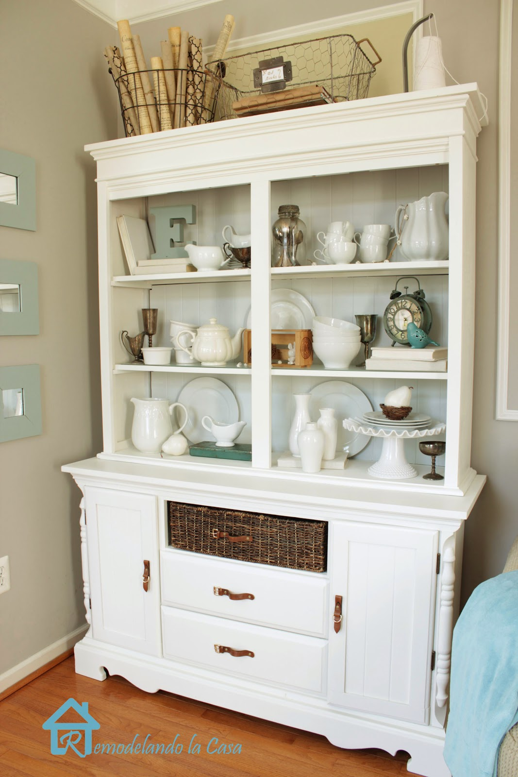 how to transform an old dark hutch with paint and moldings
