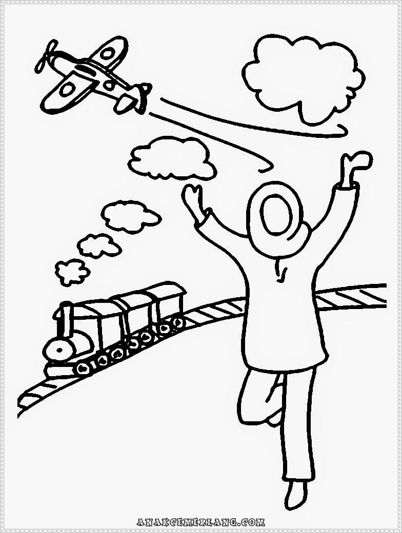 mewarnai gambar anak cemerlang bermain pesawat dan kereta api