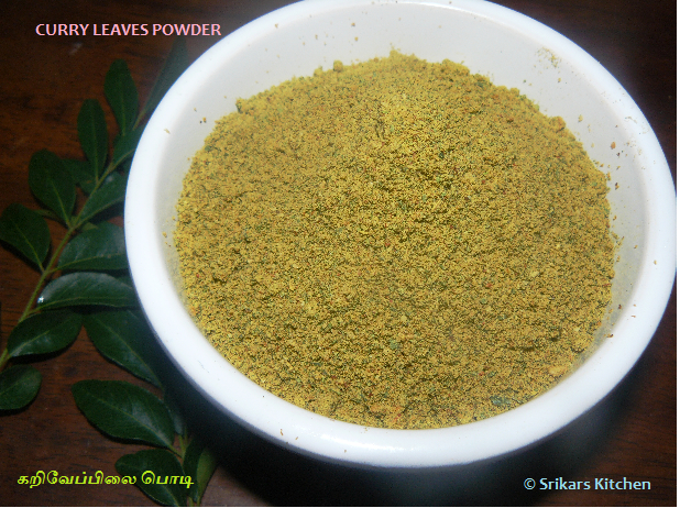 KARIVEPPILAI PODI- CURRY LEAVES POWDER-கறிவேப்பிலை பொடி - EASY RICE MIX POWDER