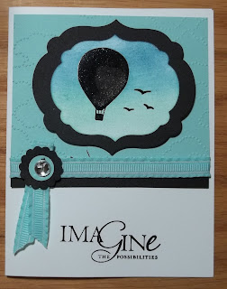 Card made with Stampin'UP! cloud embossing folder and Up, Up and Away Stamp set