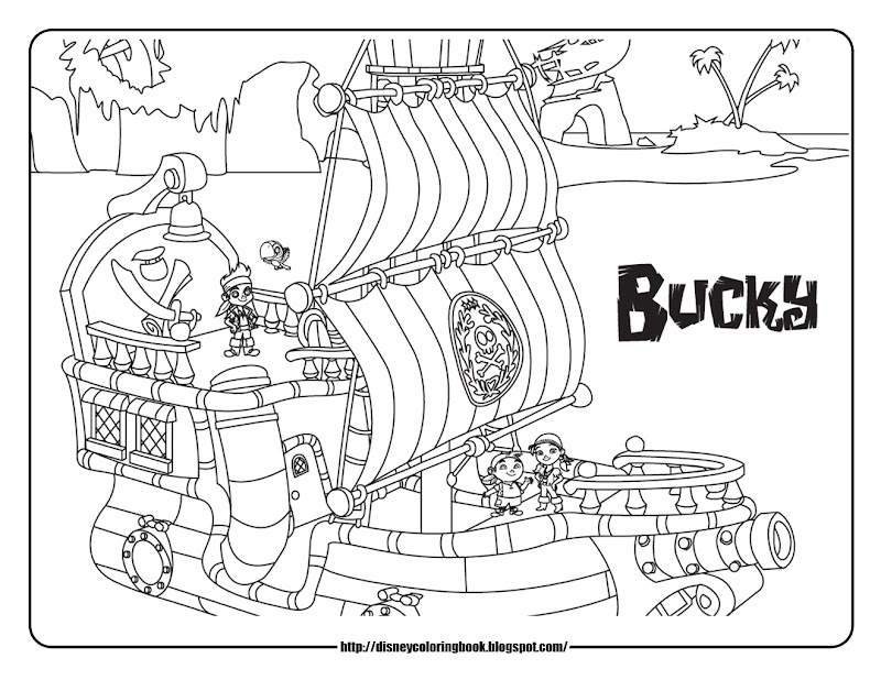 jake and the never land pirates pirate ship coloring pages bucky title=