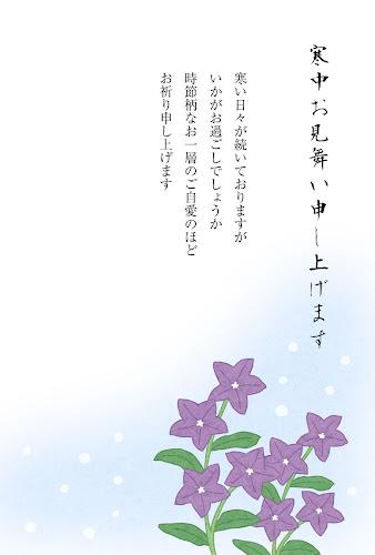 キキョウの花の寒中見舞いのテンプレート