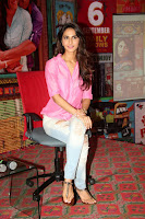 Vaani Kapoor Promoting Shudh Desi Romance in Pink Shirt and Ripped Jeans