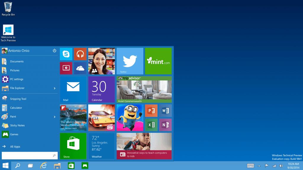 Tech Preview Start menu 1024x575 مؤتمر مايكروسوفت: الكشف الرسمي عن ويندوز 10