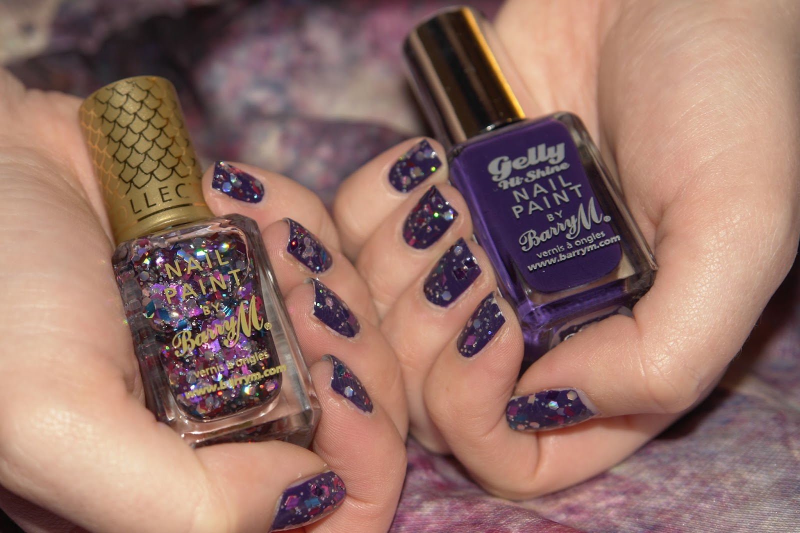 NAILS: atlantis and purple, nail polish, nails, NOTD, Barry M, glitter, purple, Gelly Hi-Shine range, Plum, beauty blog, UK blog, blogger, swatches, Aquarium Collection, Atlantis, Atlantis nail polish