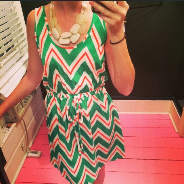 pink and green chevron dress