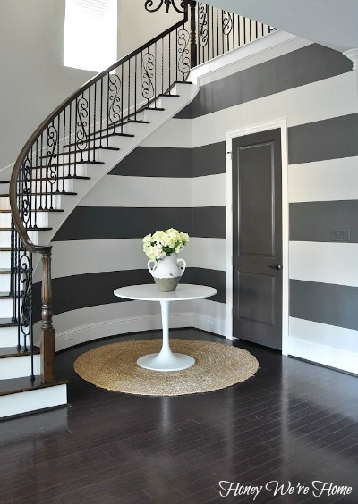 Painted curved stripes, paint colors Sherwin Williams Accessible Beige & Urbane Bronze | Honey We're Home