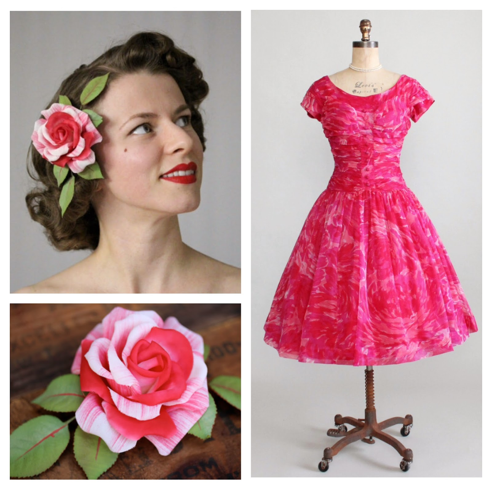 Fuchsia Flower Pairing #1950s #dress #rose #hair #flower