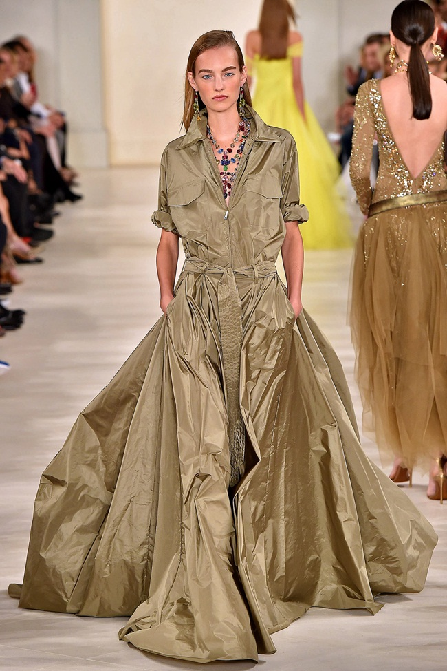 Ralph Lauren Spring 2015 Shimmery Green Metallic Silk Charmeuse Maxi Dress on Runway