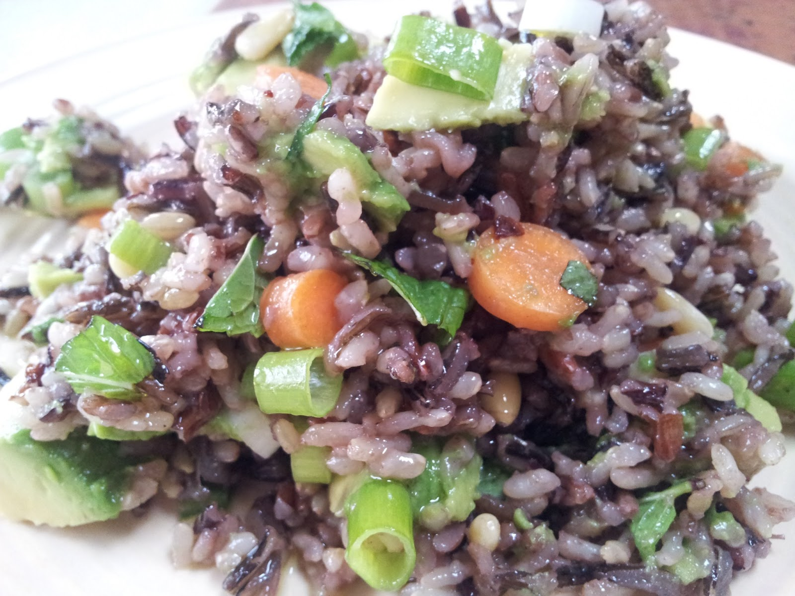 red or green?: wild rice salad with avocado, carrots & jalapeno