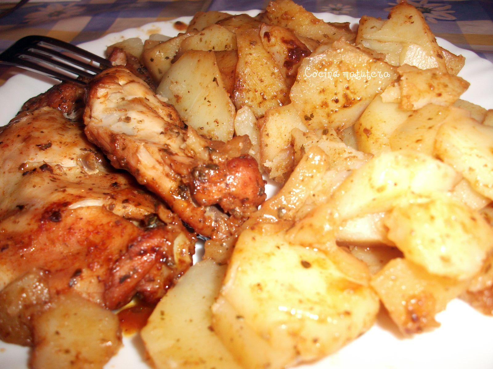 Cocina matutera pollo al horno con patatas - Pollo al horno con limon y patatas ...
