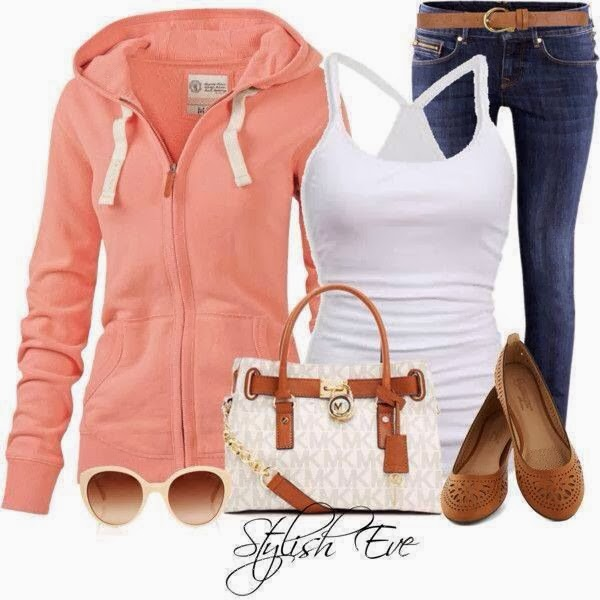 Amazing cardigan hoodie, white blouse, jeans and handbag for fall
