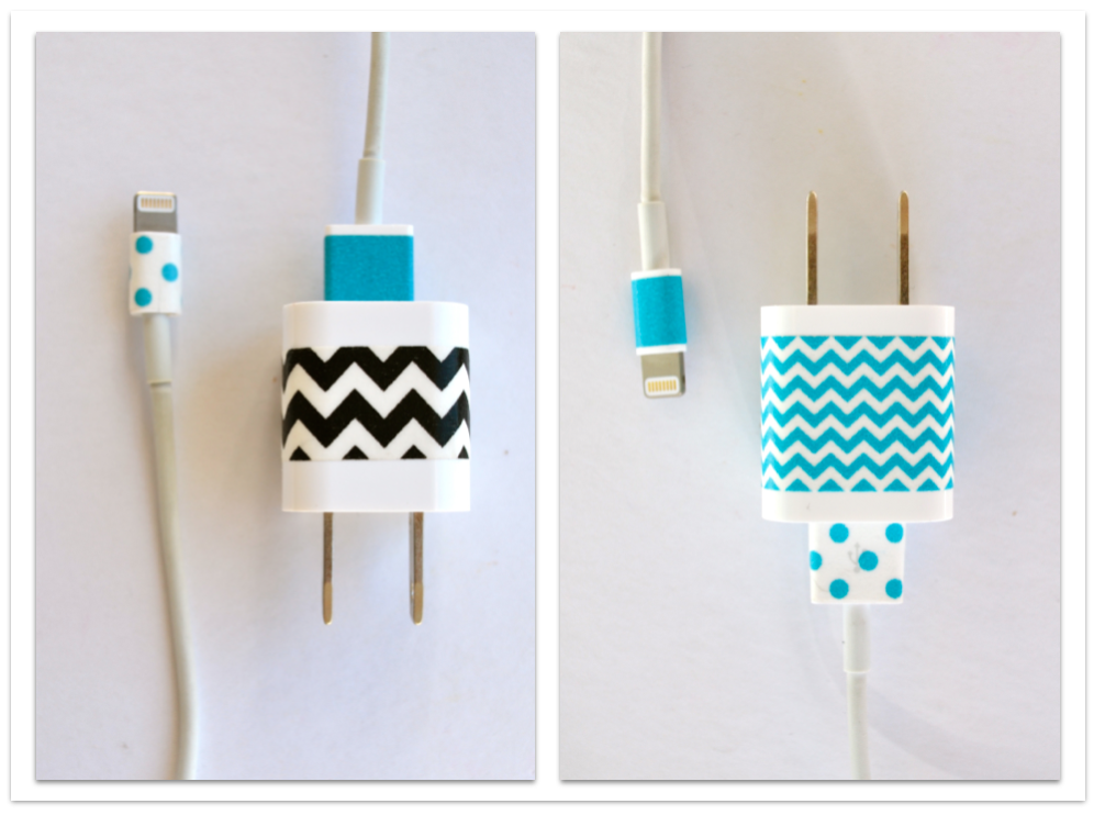 apple iPad iPhone charger accented with washi tape, #washi