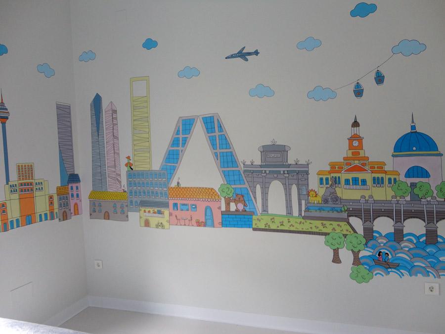 Decopared mural pintado skyline ciudad madrid sobre - Habitaciones de ninos pintadas ...
