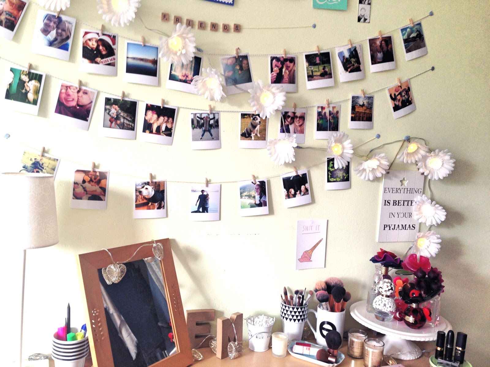 Polaroid Photo Wall Display Desk Dressing Table Inspiration
