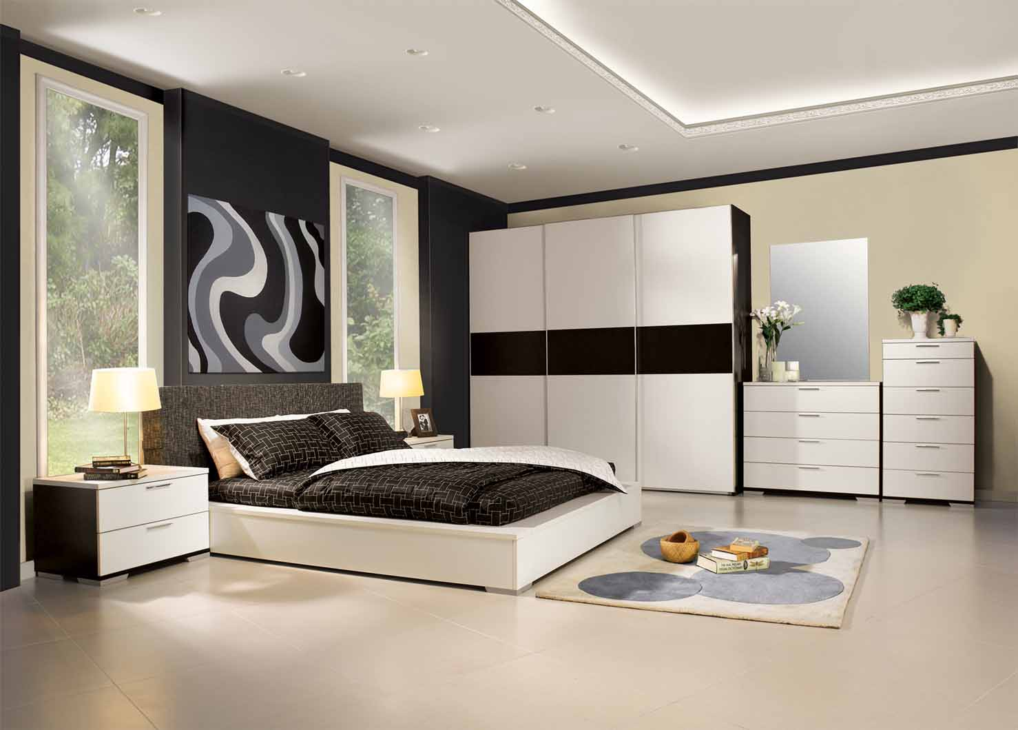 Modern bedroom decor fouadtalal for 3 bedroom design ideas