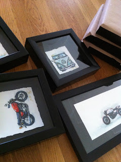 watercolor motorcycle cafe racer illustration aau art auction