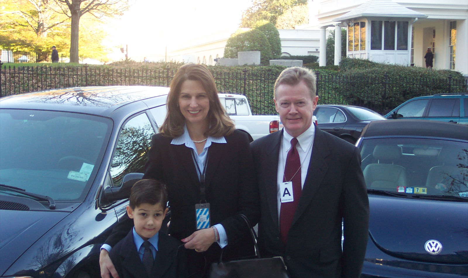 Dan Emmett, wife and son outside of White House