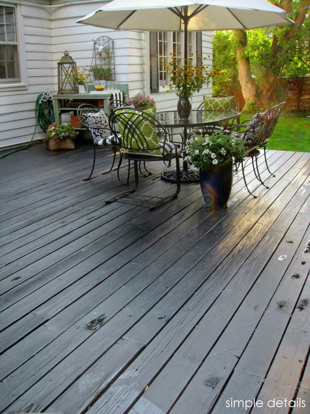 simple details we stained our deck black. Black Bedroom Furniture Sets. Home Design Ideas