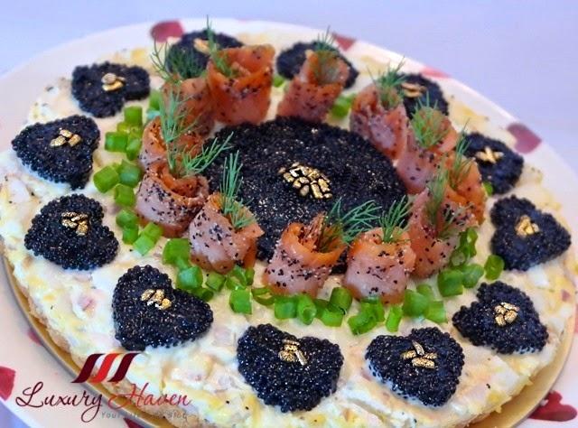 smoked salmon caviar tart party recipe