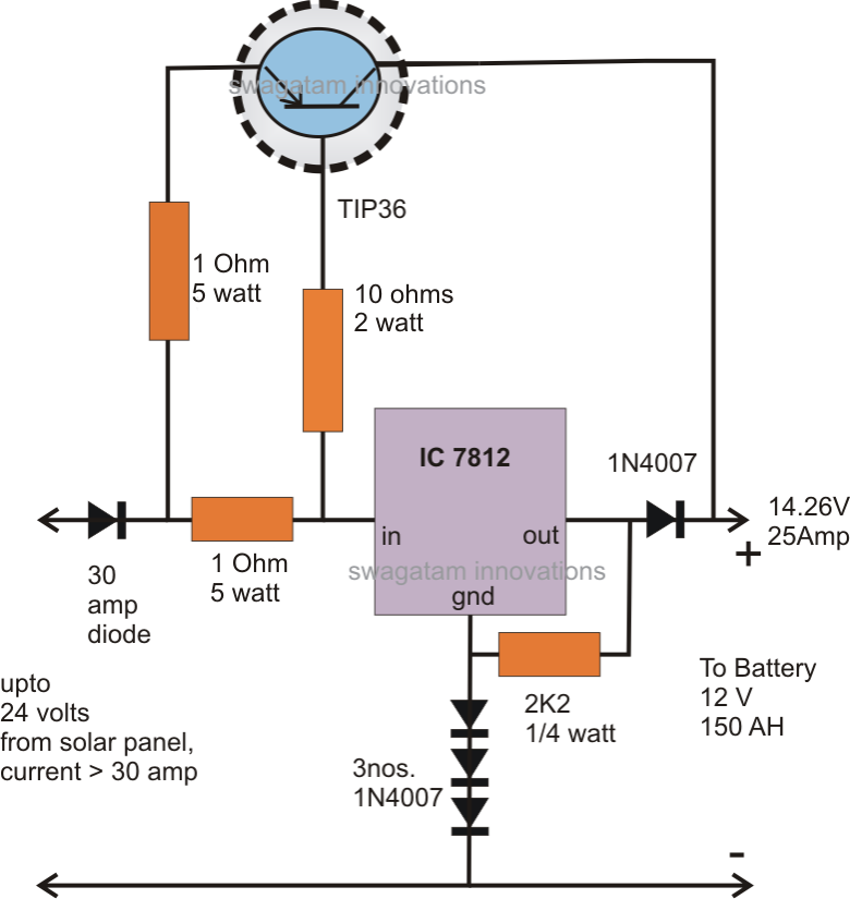 High Current Transistor Tip36 Datasheet on solar battery charger circuit diagram