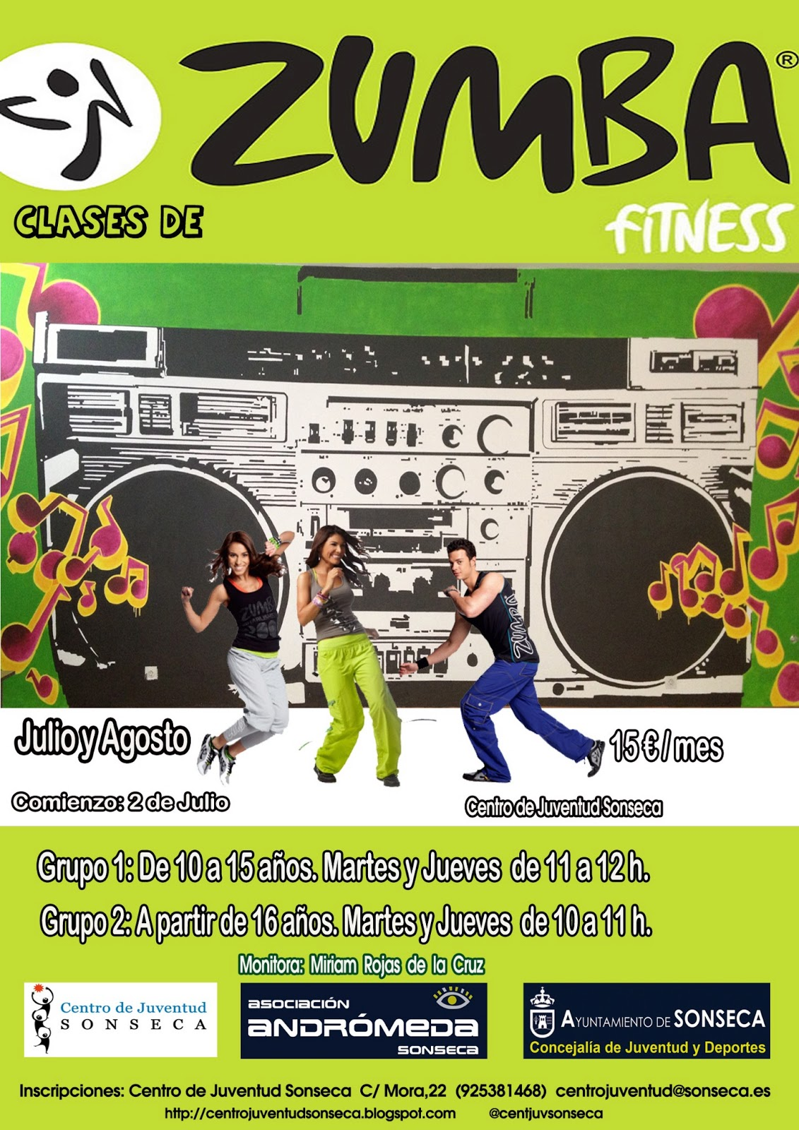 centro juventud sonseca clases de zumba fitness