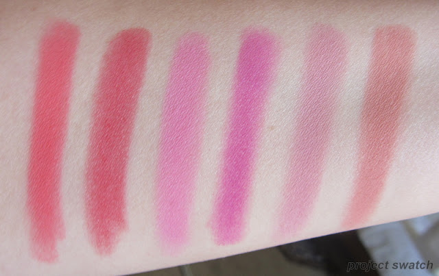 La Femme Blush on Rouge: Coral, Red, Pink Velvet, Magenta, Misty Plum, Peach swatches