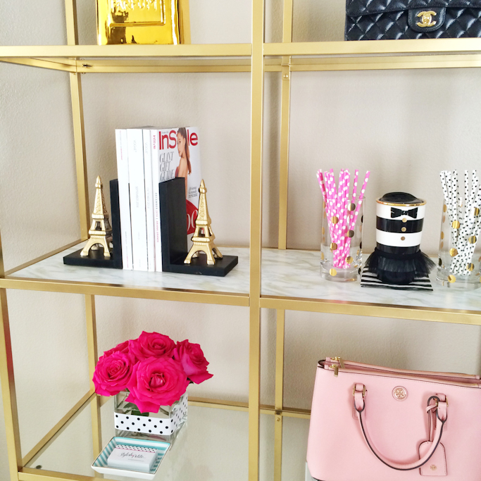 DIY Gold and marble shelves Ikea gold shelves hack gold ampersand eiffel tower bookends