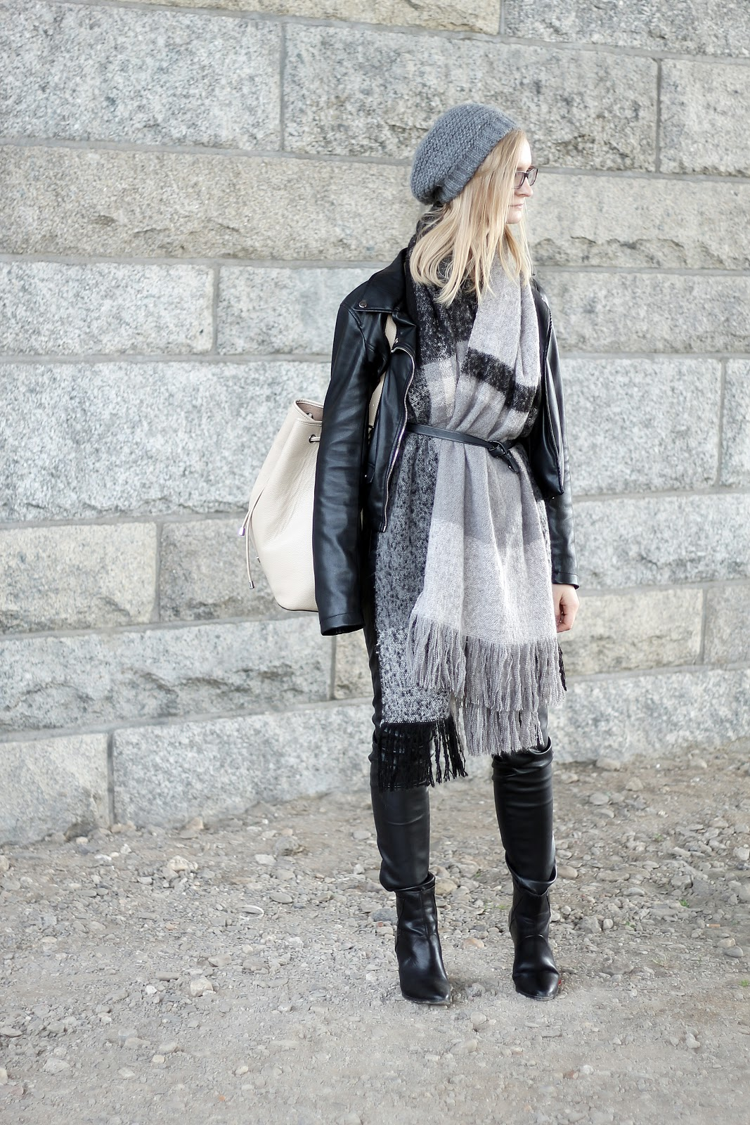 belted scarf and leather