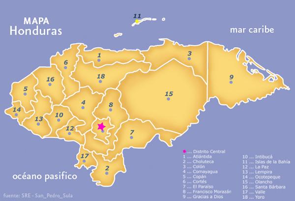 mapa con nombres de honduras