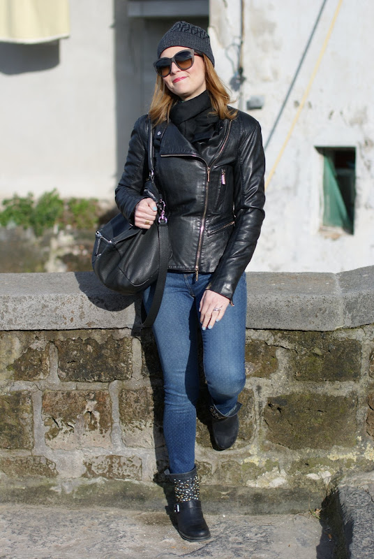 Elisabetta Franchi leather jacket, Zara polka dot jeans