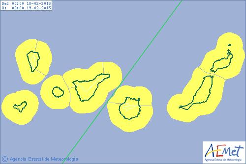 Alerta amarilla viento Canarias  18 febrero