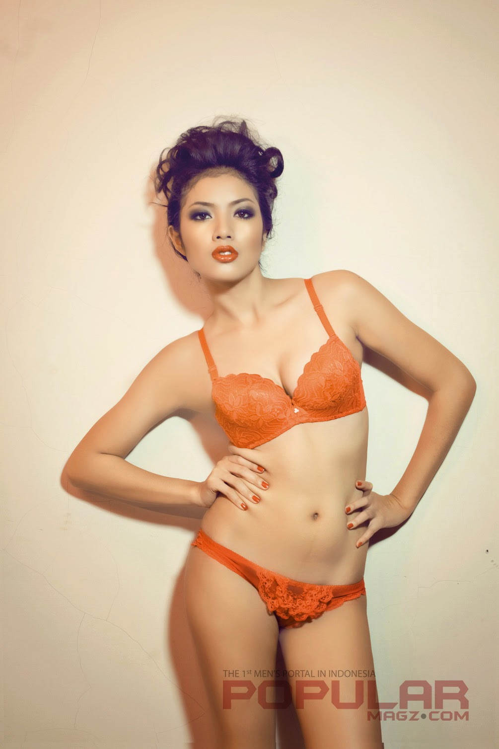 Hot Photos Ella In Orange Lingerie