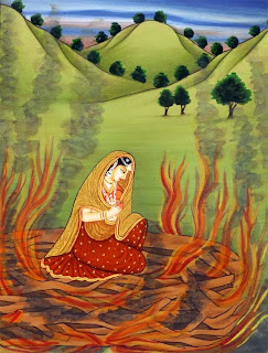 Swearing her faithfulness to Rama, Sita decides to enter fire rather than bear his insults. The Fire god, knowing her to be pure, saves her from harm.