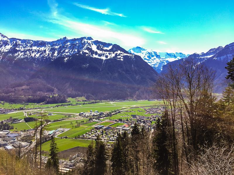 View of the swiss alps from  Harder Klum in Interlaken Switzerland
