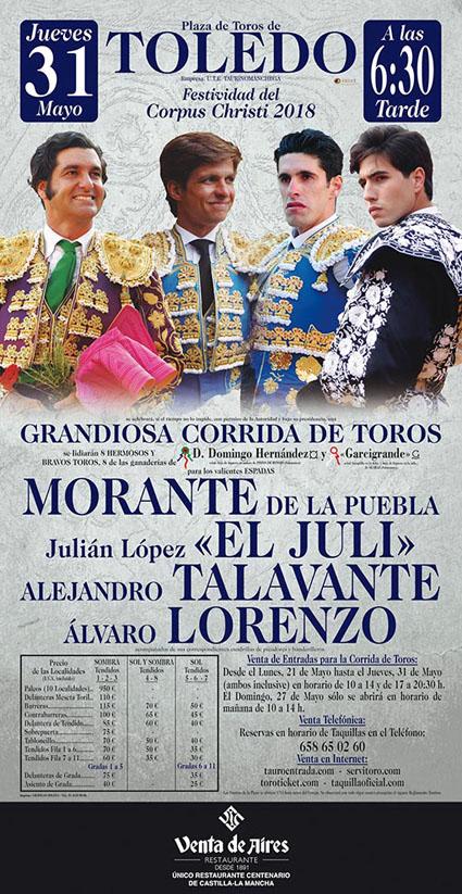 TOLEDO (ESPAÑA) 31-05-2018. CORRIDA DE TOROS.