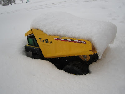 Tonka truck stuck in snow