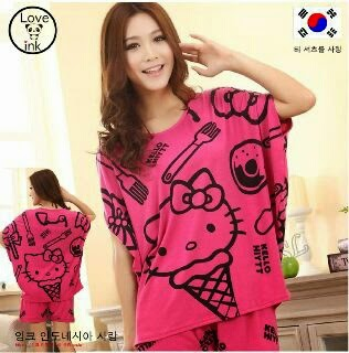 Setelan Hello Kitty Ice Cream Hot Pink - Baju Love Ink - Harga Saudara