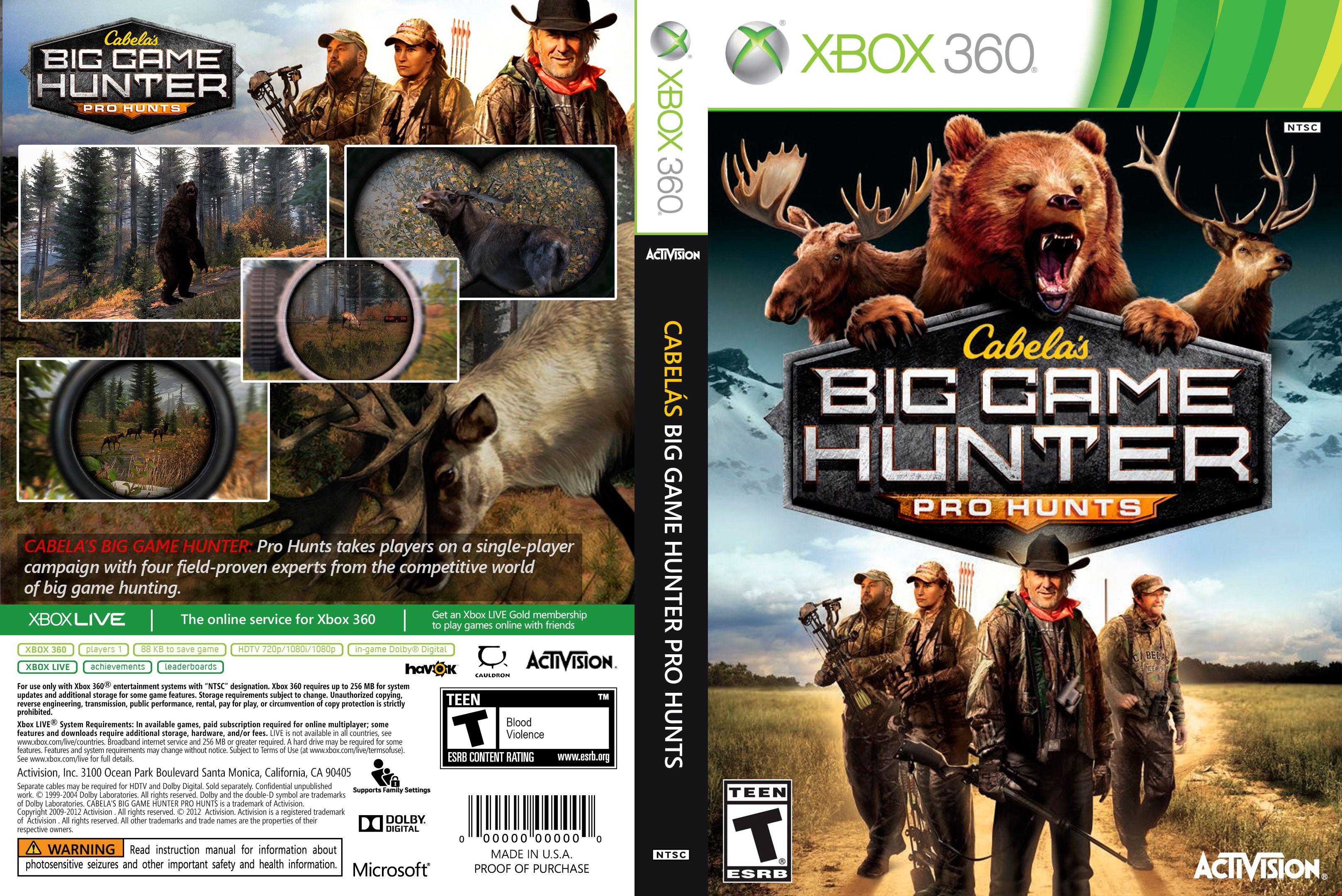 Capa Cabelas Big Game Hunter Pro Hunting Xbox 360