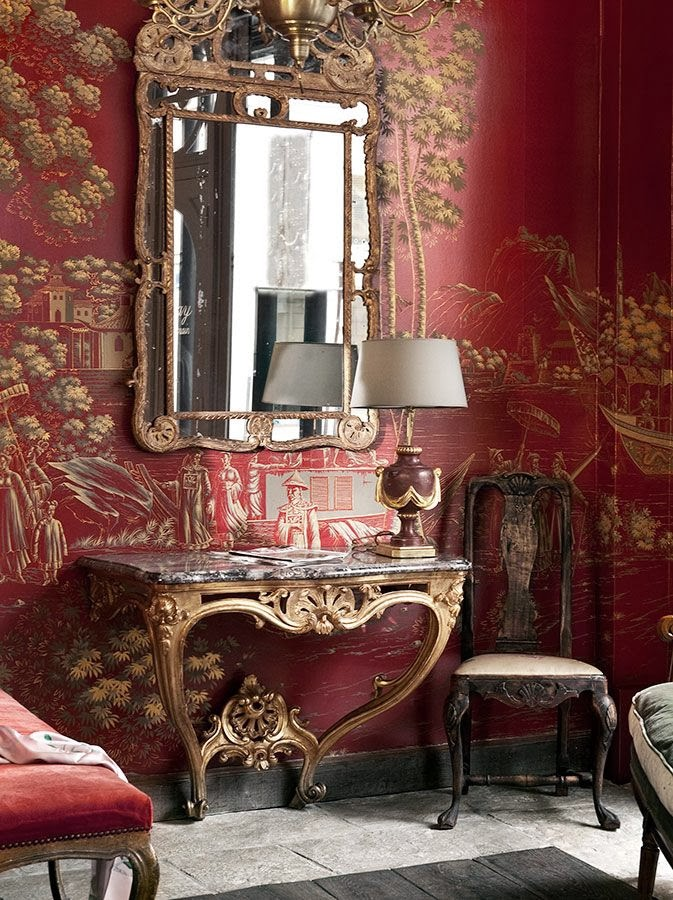 This Gorgeous De Gournay Wallpaper Is So Warm And Inviting In Its Burgundy And Gold You Can Use De Gournay Wall Coverings To Create The Perfect