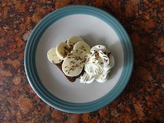 Banana and Chocolate Sprinkles on Chocolate Soreen with Cream