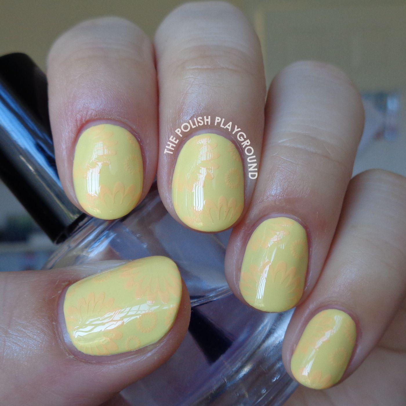 Pastel Yellow with Subtle Orange Floral Stamping Nail Art