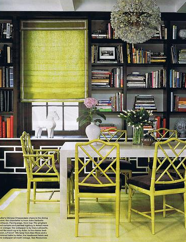 Chinoiserie Chic Green Chinoiserie Dining Room Library
