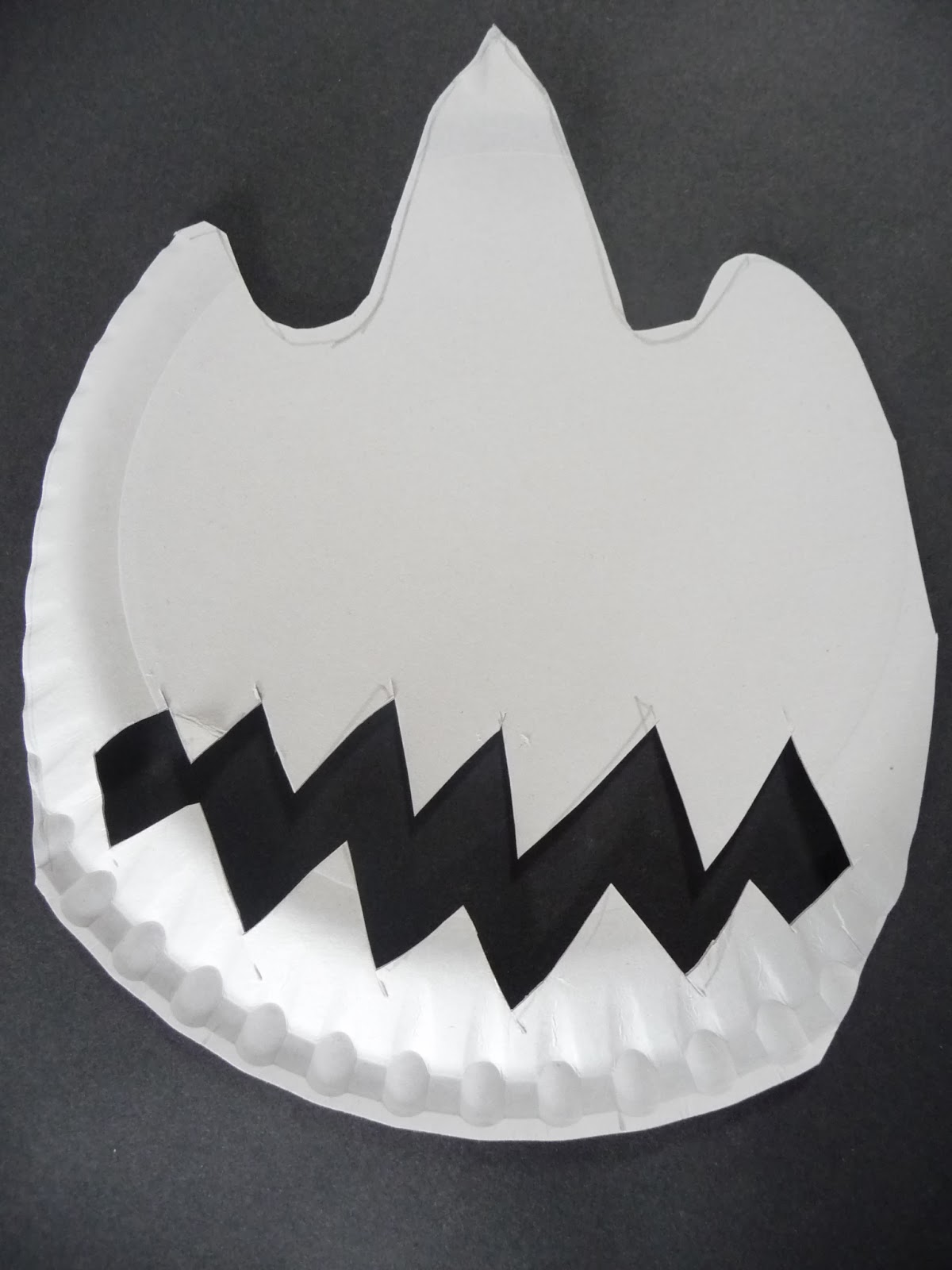 Cut the above shape out of the paper plate & Little Art Club: Dinosaur/ T Rex mask