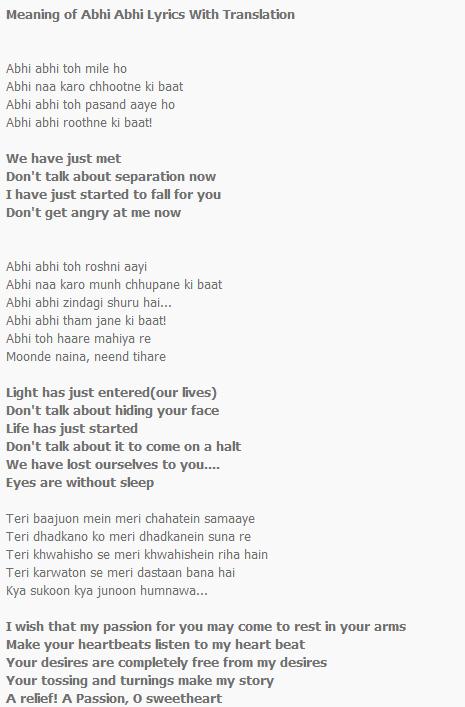 Abhi Abhi Lyrics Translation | Jism 2 | Hindi Bollywood Songs