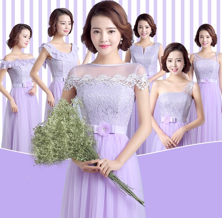 6-Design Simple Fundamental Lilac Bridesmaids Maxi