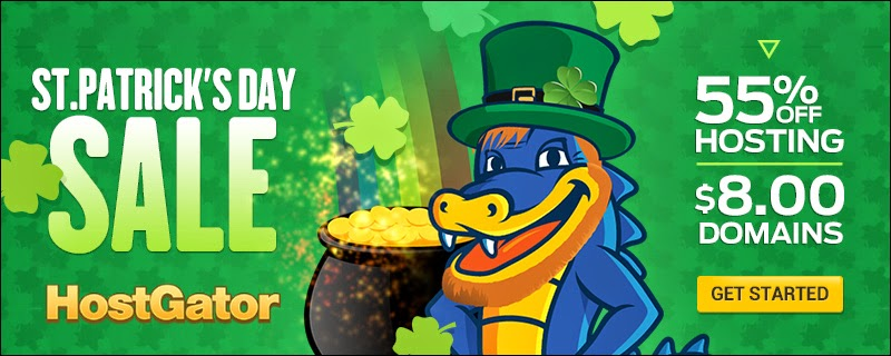 St. Patrick's Day Sale: 55% Off Hosting + $8 Domains! by Hostgator