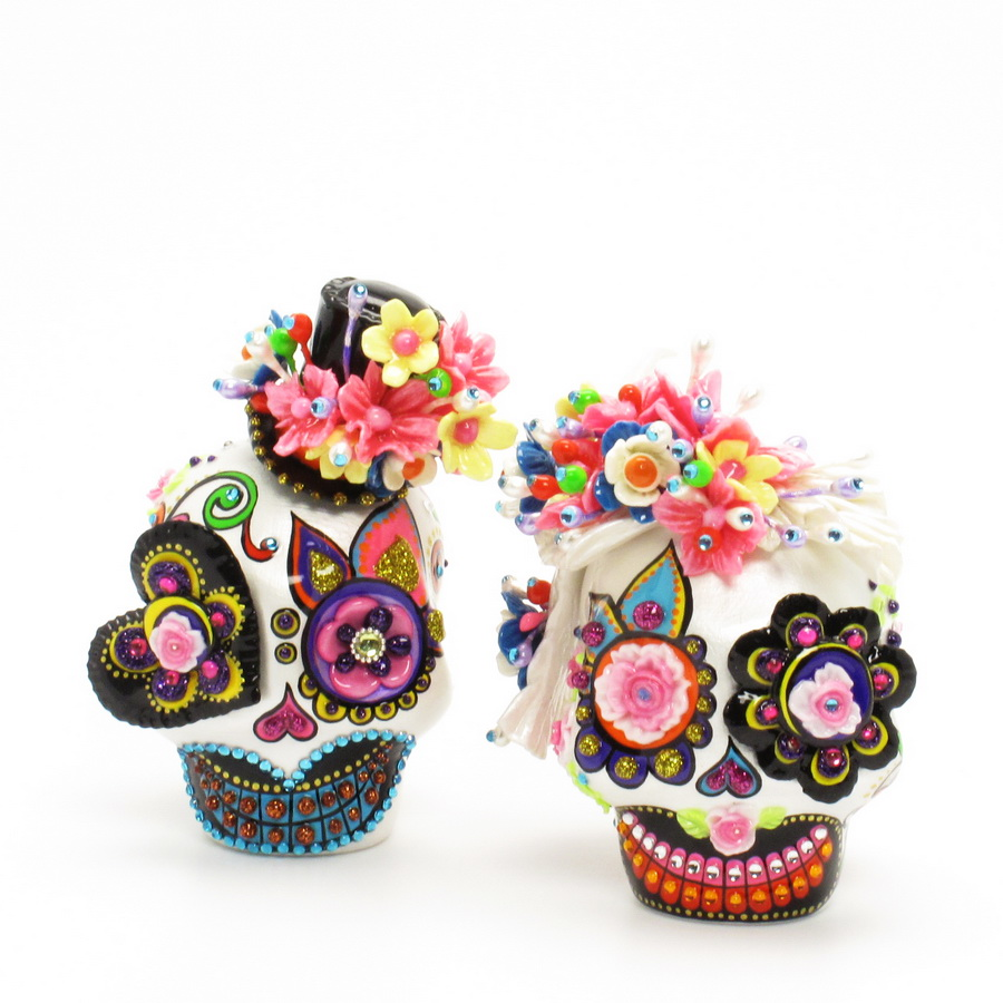 Skull Wedding Cake Toppers: Skull Lover Day of Dead 0077