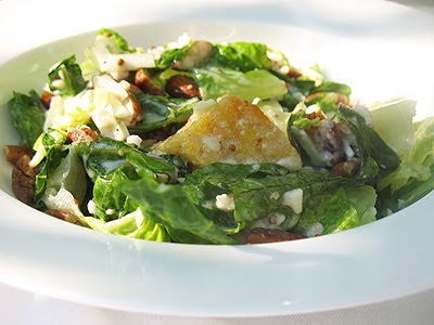 Vegetarian Caesar Salad with Toasted Nuts and Polenta Croutons